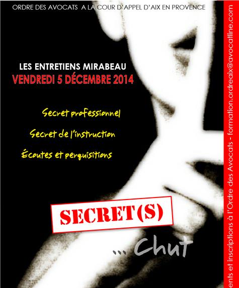 """Intervention sur le thème du secret professionnel lors du colloque """"Les entretiens Mirabeau&quo"""
