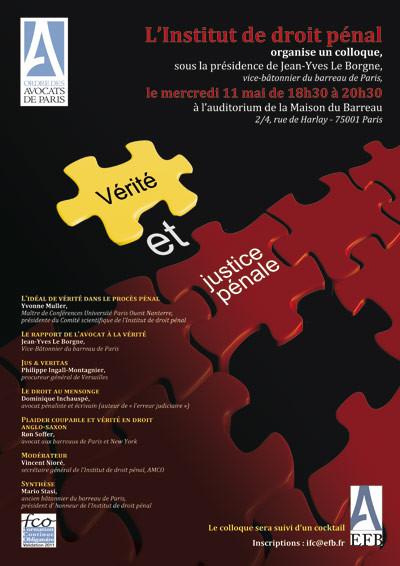 """Intervention au colloque de l'Institut de Droit Pénal """"Vérité et justice pénale"""", Mais"""