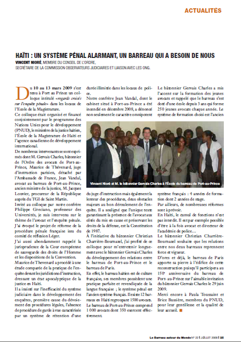 """""""Haïti : Un système pénal alarmant, un Barreau qui a besoin de nous"""", La Barreau autour du Monde."""