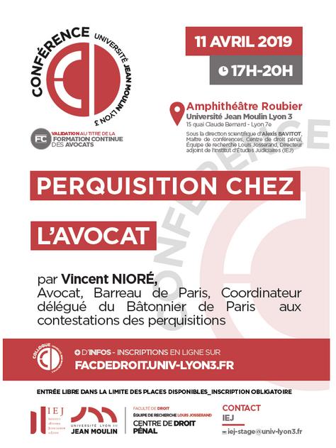 """""""Perquisition chez l'Avocat"""", Conférence à l'Université Jean Moulin Lyon 3"""
