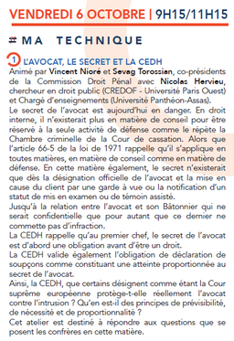 """Intervention sur le thème """"L'avocat, le secret et la CEDH"""", Congrès de l'ACE à Str"""