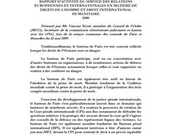 Rapport d'activité du service des relations européennes et internationales en matière de droits