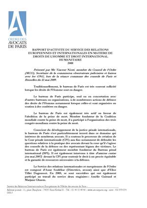 Rapport d'activité du service des relations européennes et internationales en matière de droits de l'homme et droit international humanitaire — Ordre des avocats de Paris