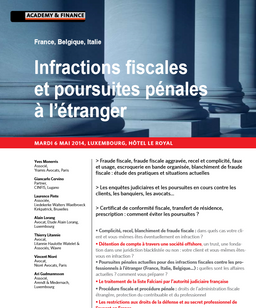 "Intervention lors du colloque ""Infractions fiscales et poursuites pénales à l'étranger&quot"