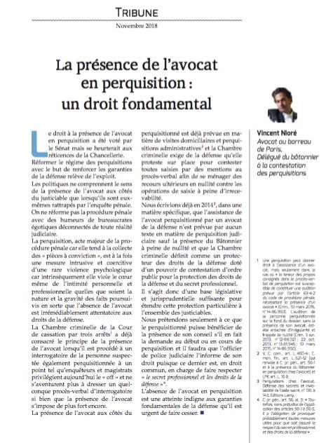 """La présence de l'avocat en perquisition : un droit fondamental"", Tribune, Dalloz Avocats"