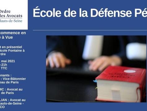 """A venir : Intervention de Vincent Nioré sur le thème """"La défense commence en garde à vue""""."""