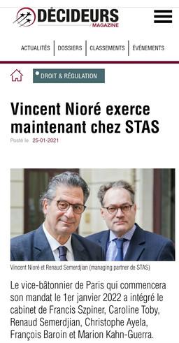 Vincent Nioré intègre le cabinet STAS comme associé