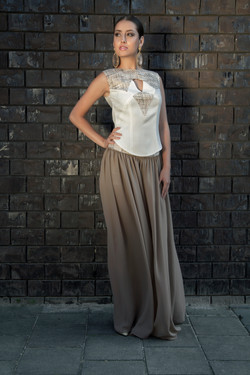 Wol met zijde top en voile broek