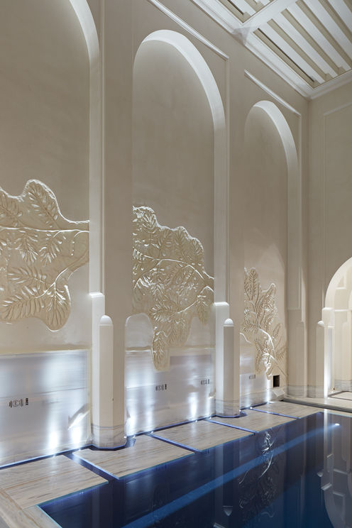 Decorative Fibrous Plaster GRG Wall Panel Mouldings, Columns and Arches