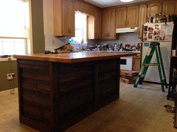 Kitchen island recovered Heart Pine 1