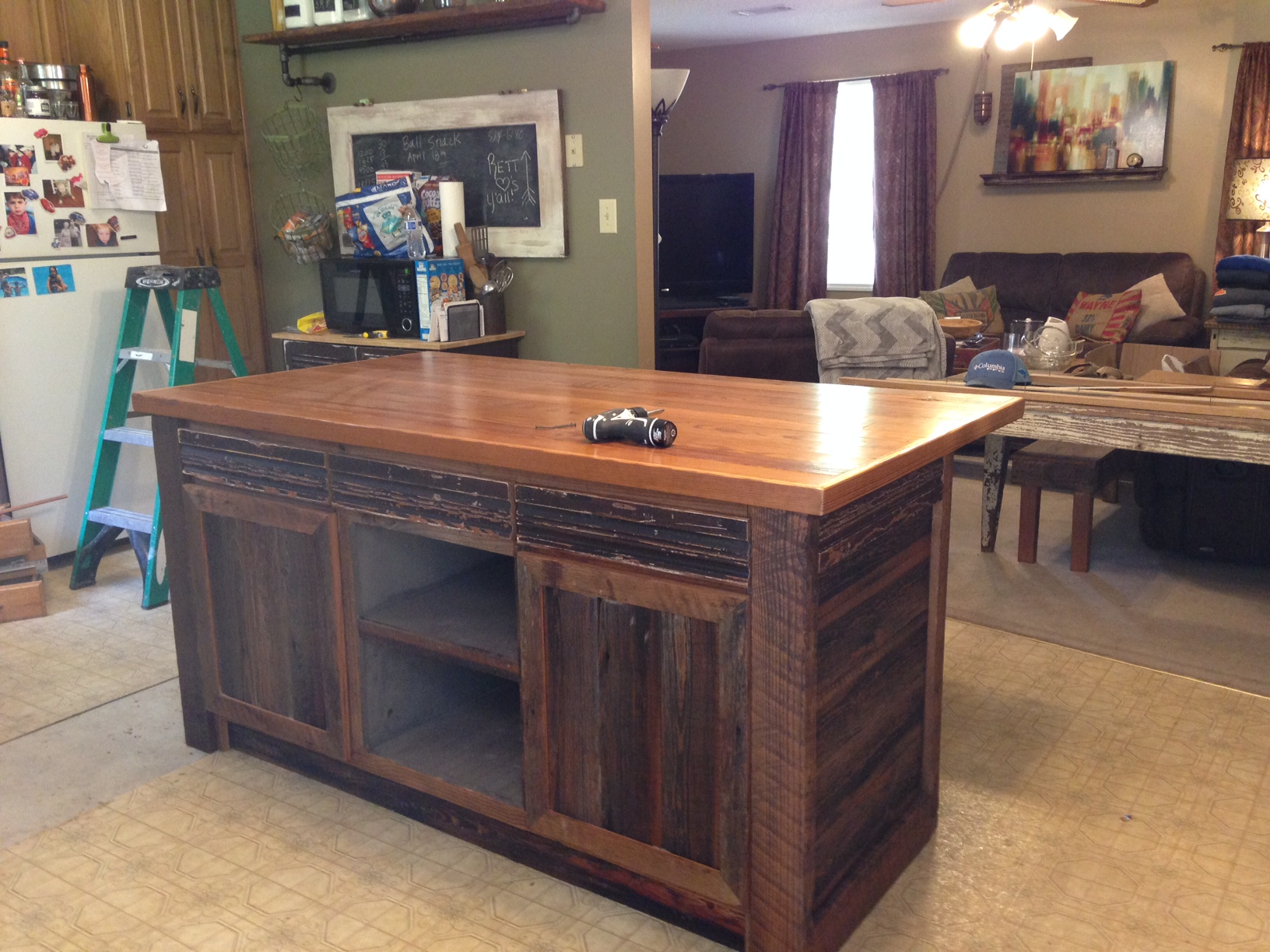 kitchen island recovered heart Pine