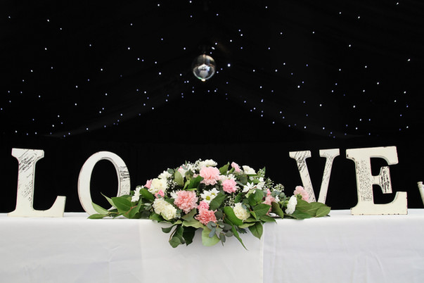 LOVE sign marquee table decor