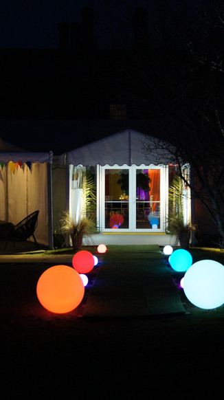 light orbs for wedding marquee