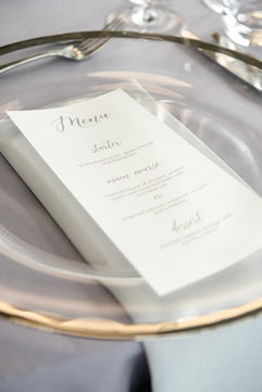 Menu On Charger Plate - Photography by Sarah Vivienne