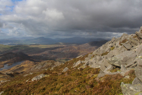 Northwards to Snowdonia's highest peaks from the western flanks of Rhinog Fawr