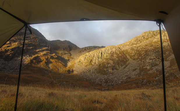 View from my sleeping bag, Rhinog Fawr towering above
