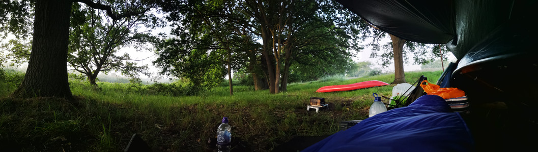 Waking up outdoors; the view from my sleeping bag