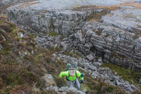 Climbing out of the spectacular final ravine, northern Rhinogs