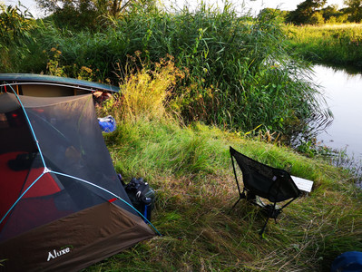 Close to nature, the mesh tent just stops it eating me!