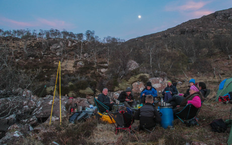 Chatter with friends as the moon rose over Cul Beag