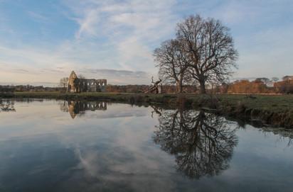 Newark Priory from below the lock