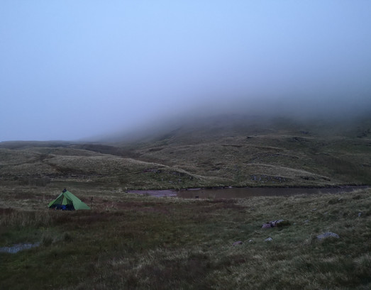 Mists coming down on my wild camp on the Black Mountain