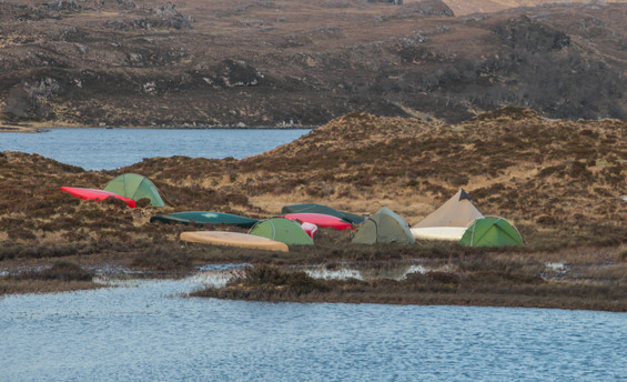 Windy wild camp in the bog, from which we relocated quickly!