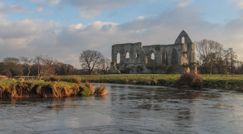Newark Priory from the backwaters of the Wey