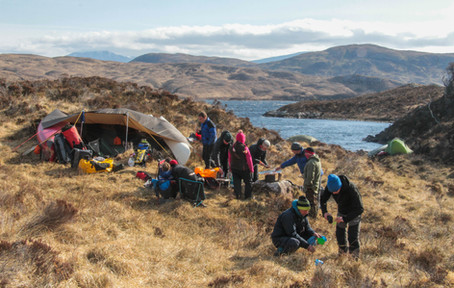 Rough and ready camp in the tussocks near Cam Loch