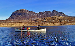 Canoeing, Fionn Loch, Inverpolly, Suilven, canoeing with kids
