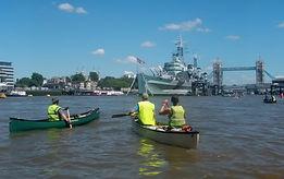 Canoeing, Thames, Tower Bridge, HMS Belfast