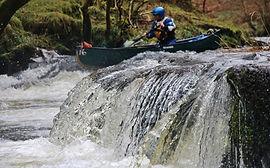 Canoeing, Usk, Sennybridge to Aberbran, ledge drops, Wales