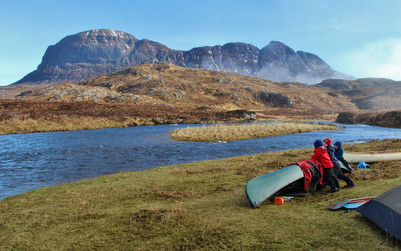 Suilven from camp, Fionn Loch