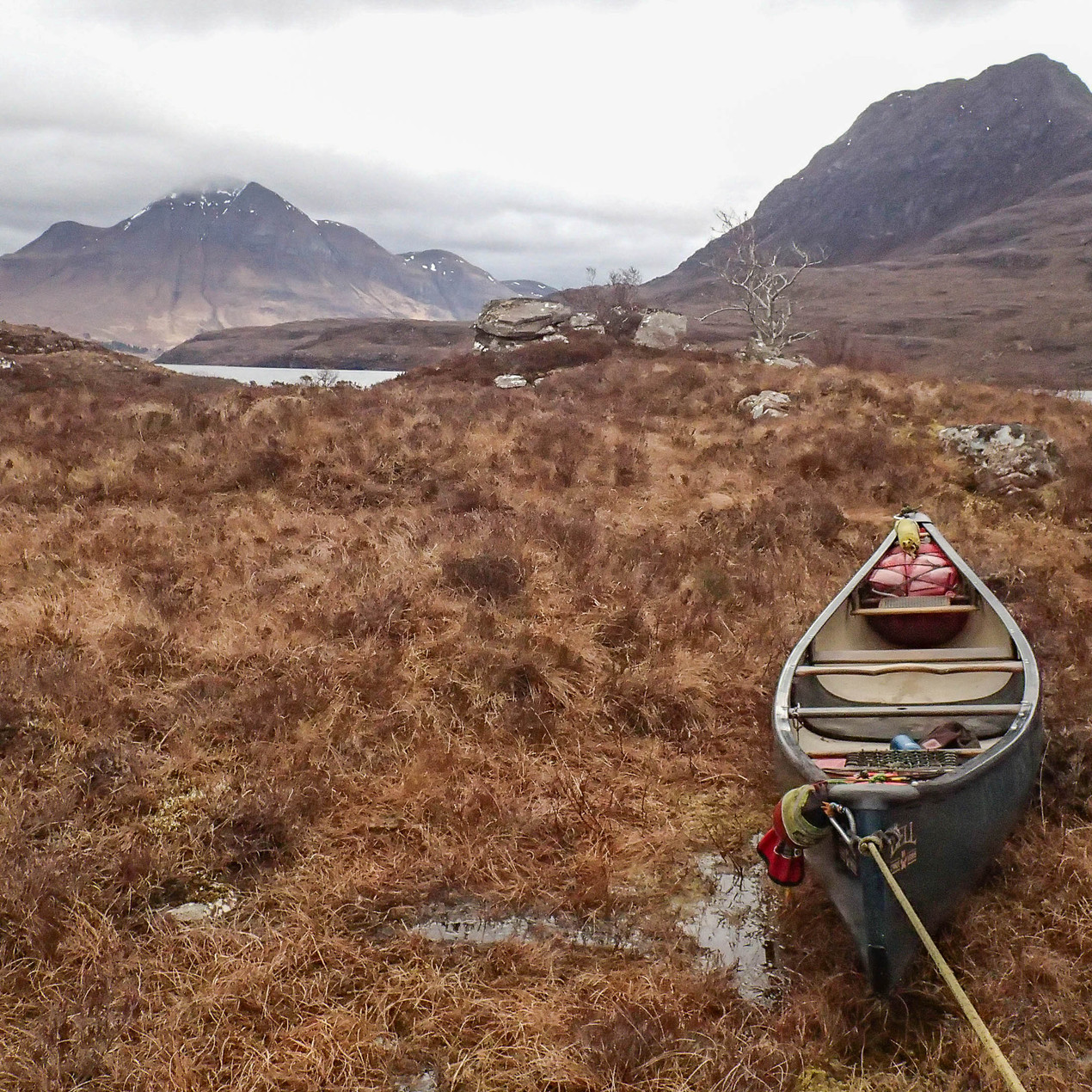 Dragging canoes across the highlands