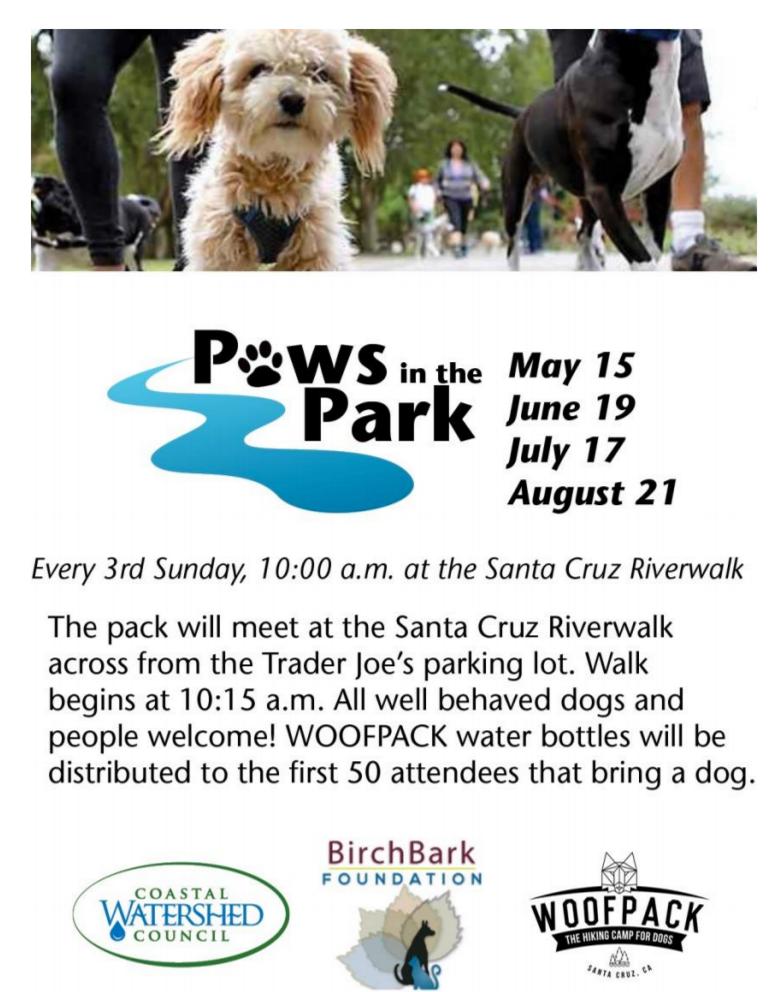 Paws In The Park Community Pack Walk Santa Cruz