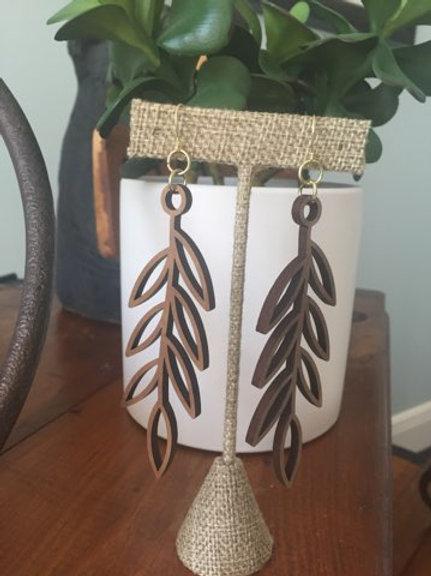 Open Leaf Wood Earrings