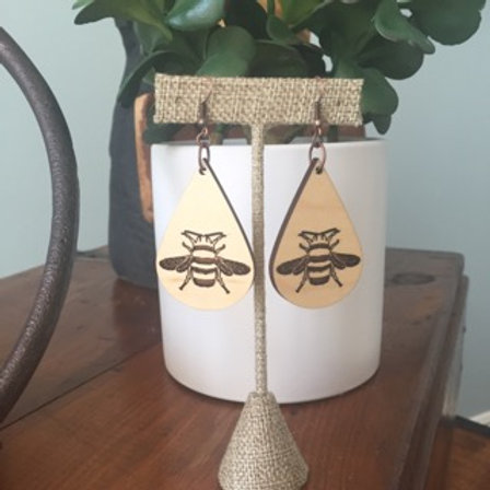 Sketch Bee Wood Earrings