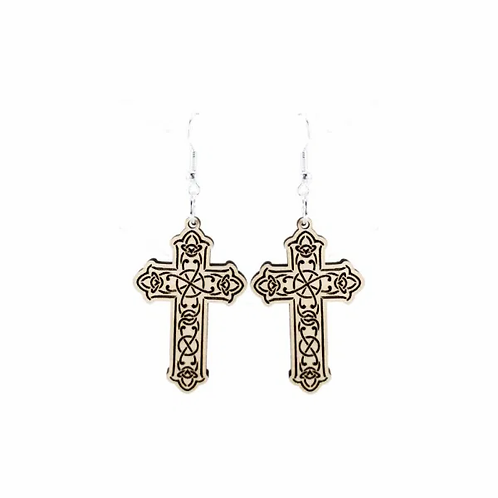 Cross Wood Earrings