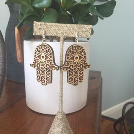 Hamsa Hand Wood Earrings