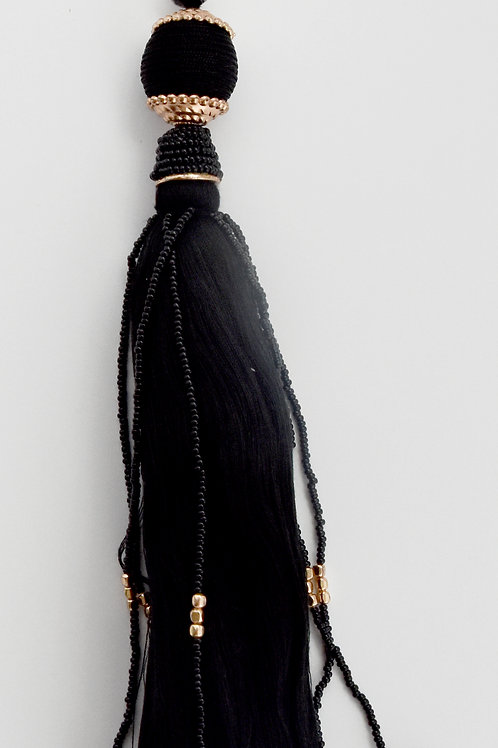 Black Tassel with Beads Bag Charm