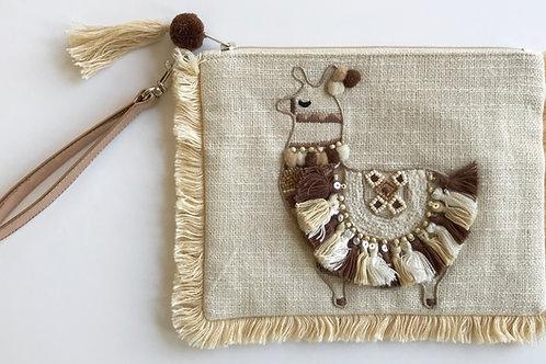 Llama Embellished Wristlet