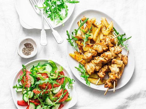 Souvlaki au poulet et tzatziki