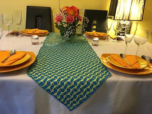 Chemin de table Wax Colorblock bleu/jaune