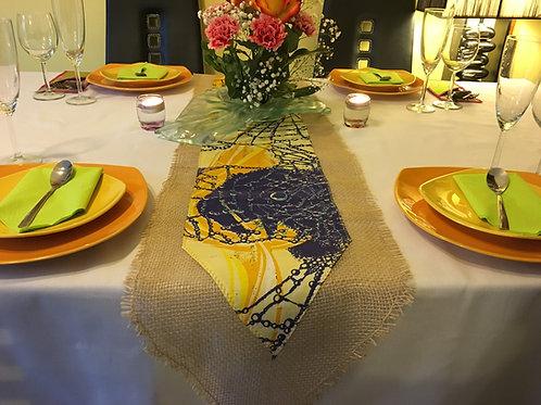 Chemin de table combiné toile de jute/wax multicolor imprimé bleu/jaune