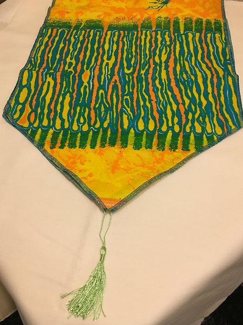 Chemin de table Wax multicolore imprimé tie and dye
