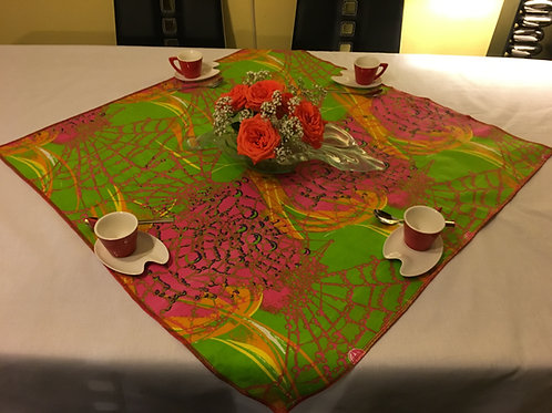 Nappe de table Wax multicolor imprimé tie & dye vert/fushia