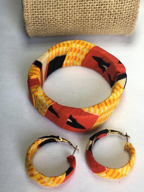 Parure bracelet manchette & BO assorties en Wax