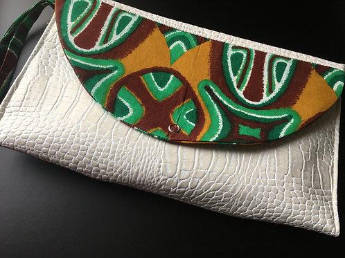 Pochette forme enveloppe Bi-Matière Wax & simili cuir