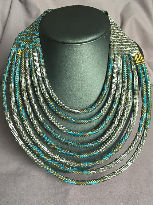 Collier multirang en Wax inspiration Ethnique Massai bleu/gris