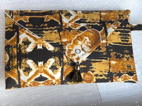 Pochette de sac rigide forme enveloppe Wax imprimé masque